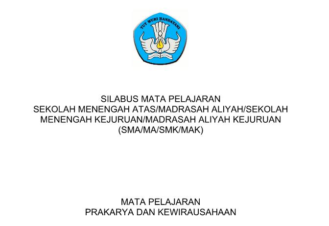 Silabus SMA Prakarya Dan Kewirausahaan