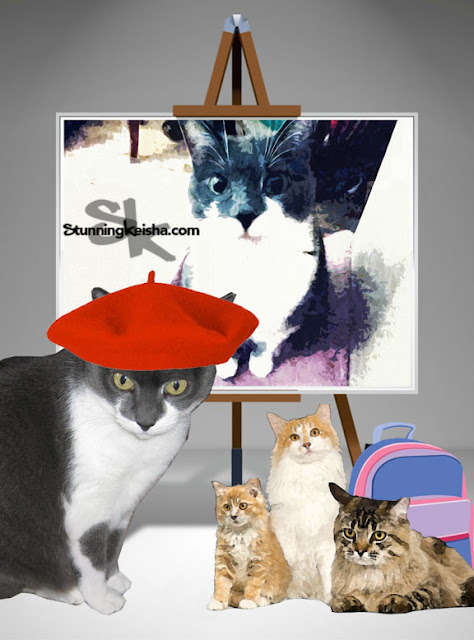 In My Art Studio With 3 Furrends on International Homeless Animal Day