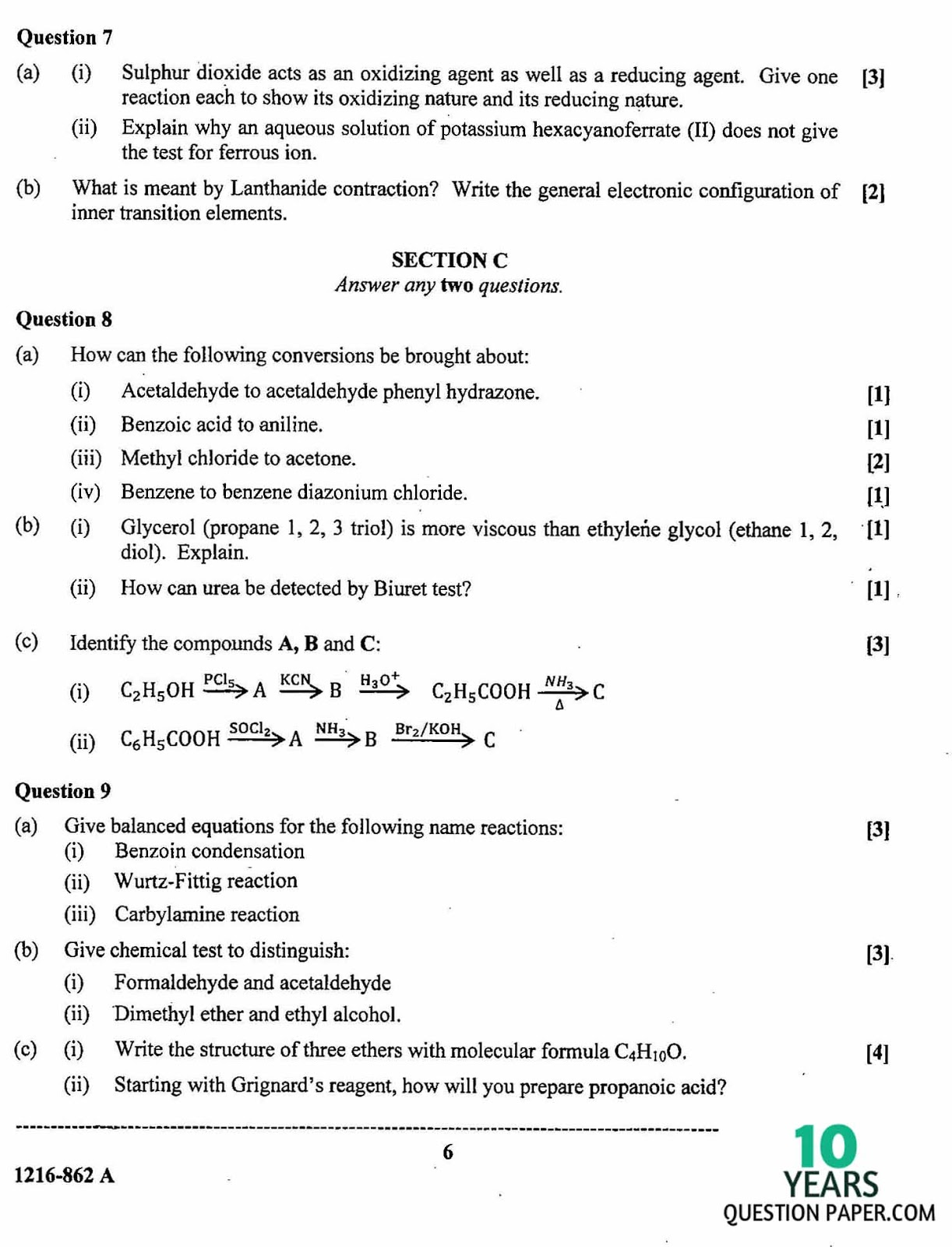 isc 2016 class 12th chemistry Paper 1 Theory question paper 1
