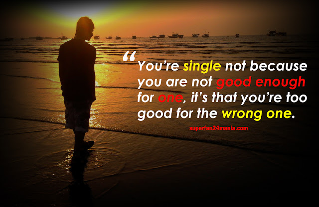 You're single not because you are not good enough for one, it's that you're too good for the wrong one.