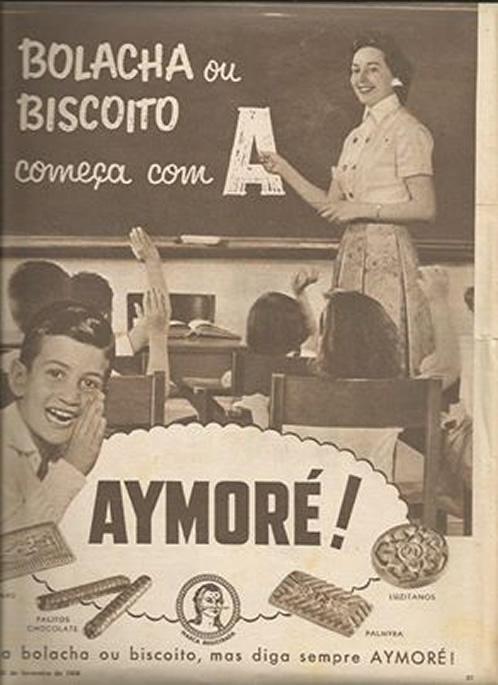 Campanha da Aymoré que apresentava a famosa discussão: bolacha ou biscoito?