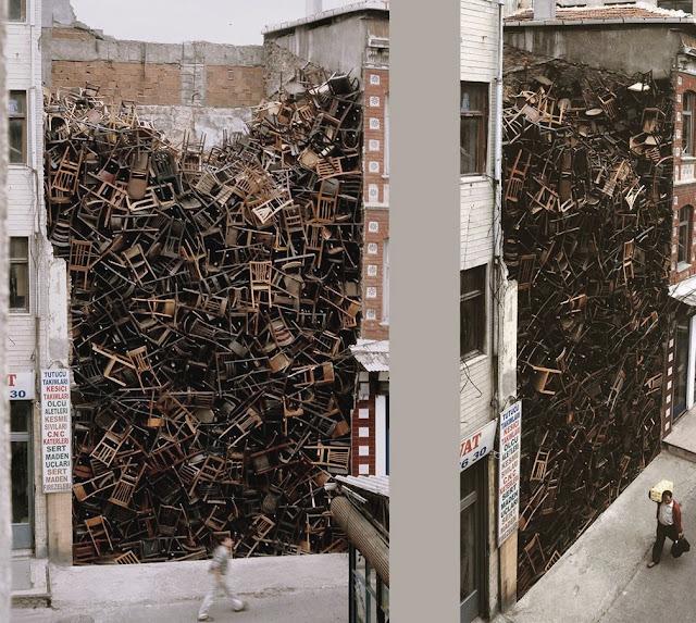 artistas bizarros, obras de arte macabras, obras de arte bizarras, arte macabra, arte contemporânea, arte escatológica, coisas assustadoras, doris salcedo, 1500 cadeiras