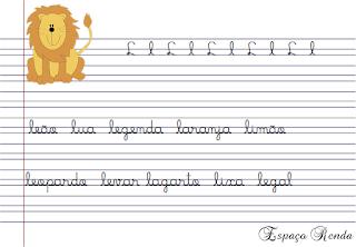 caderno de caligrafia letra L