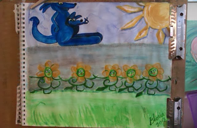 Cartoon blue kanga admiring flowers dancing, created by Gloria Poole; Nov 2013