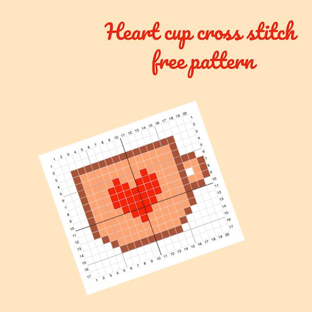 Heart cup cross stitch - free pattern
