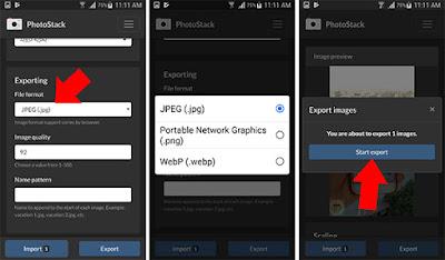 تغيير نوع الصور من خلال تطبيق PhotoStack