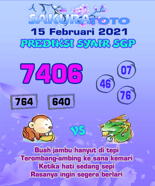 Syair Sakuratoto SGP Senin, 15 Februari 2021.