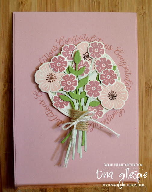 scissorspapercard, Stampin' Up!, CASEing The Catty, Challenge, Beautiful Bouquet Bundle, Stitched Shapes Dies, Wedding Card