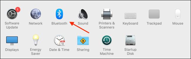 اختر Bluetooth من تفضيلات النظام