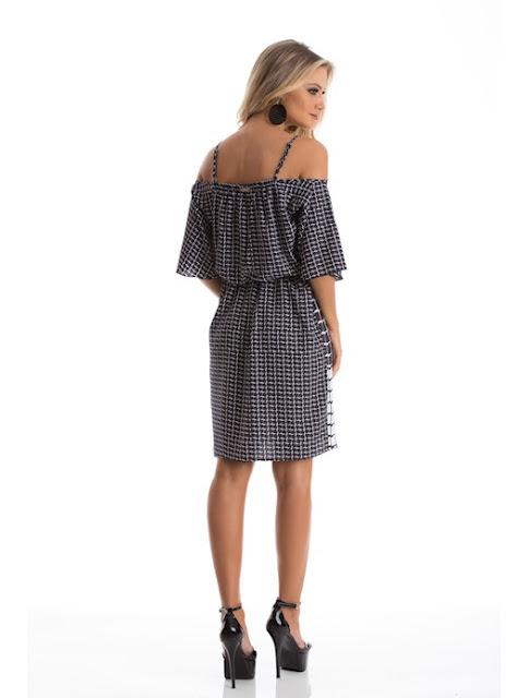 Moda Vestido com alça de crepe charm