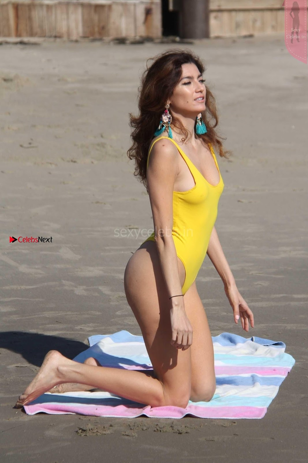 Blanca Blanco in narrow Yellow Swimsuit Sexy shaved Pussy Almost Visible WOW SexyCelebs.in Exclusive