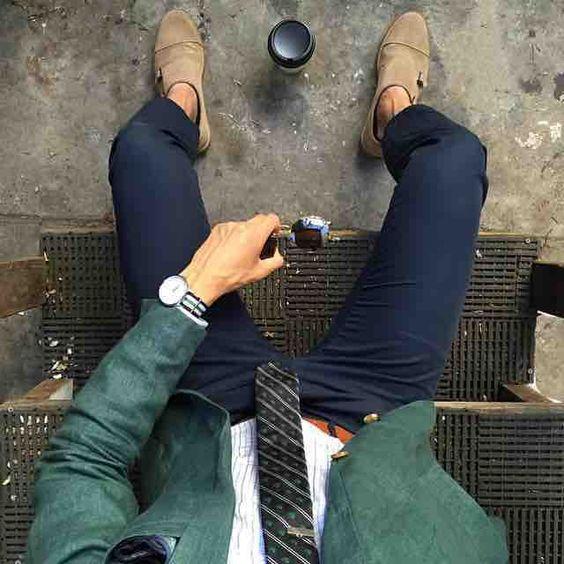 Look Masculino com Sapato Monk Strap