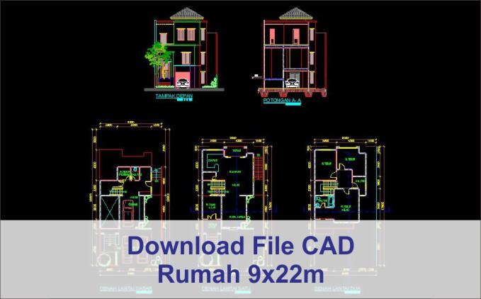 download rumah 9x22 File AutoCad