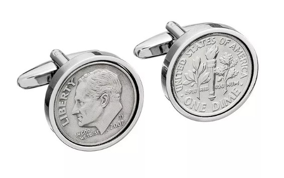 World Coin Cufflinks dime coin cufflinks 10-year anniversary gift