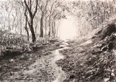Charcoal drawing of a scene from Matheran