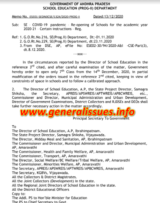 Re-opening of Schools for the academic year 2020-21