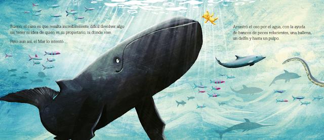 Una de las bellas ilustraciones del álbum ilustrado El Mar lo vio de Tom Percival