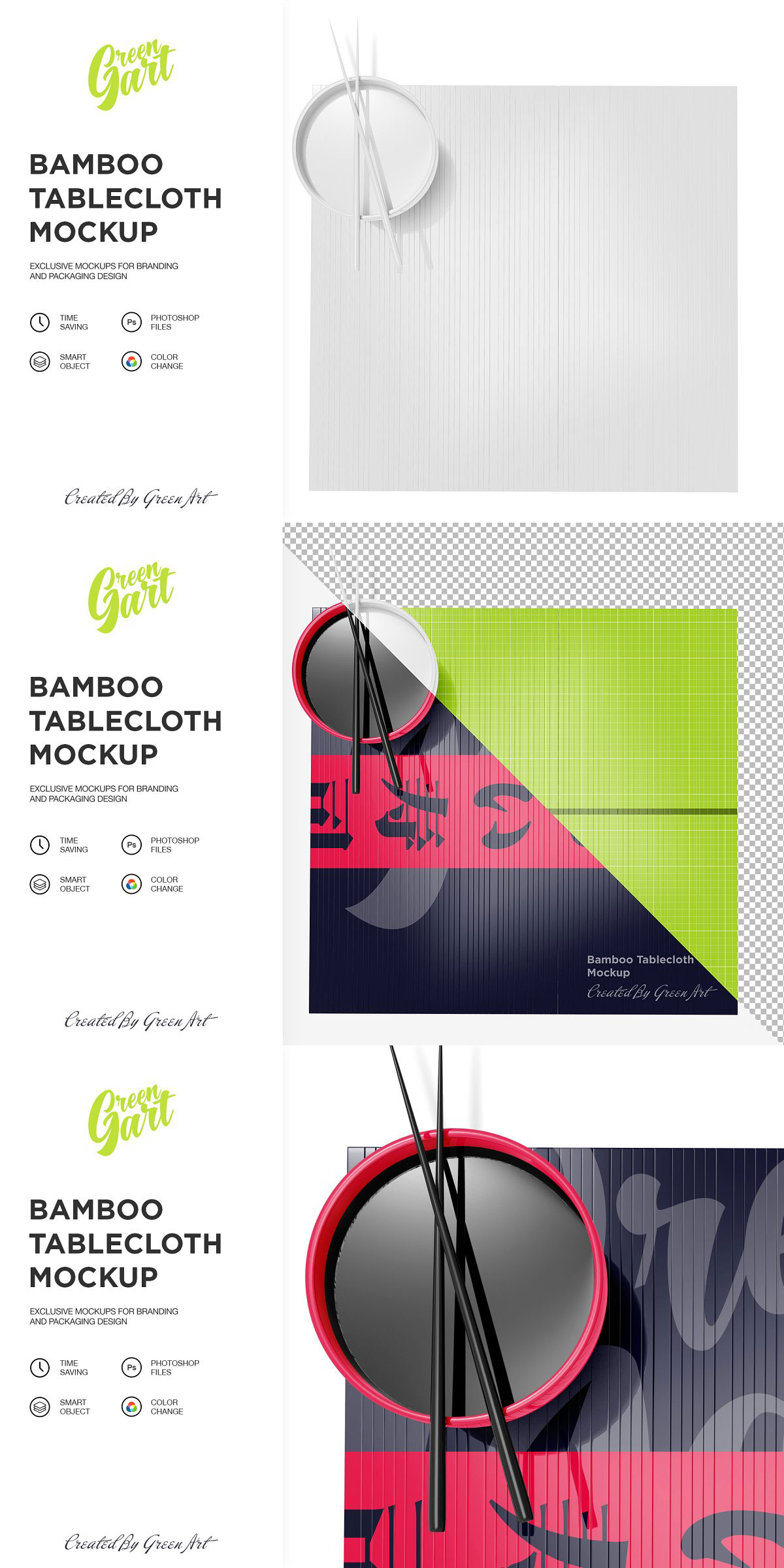 Bamboo Tablecloth Mockup Top View 2331533 Free Download