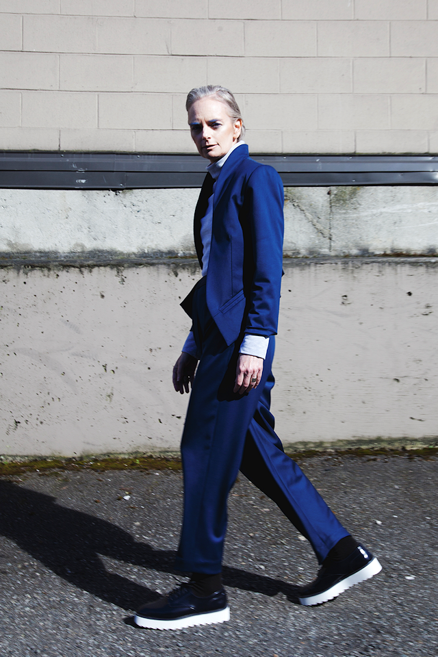 Anti-tux. Model Mel Kobayashi; Designer Claire Cormeau, Photos Katrin Braga, Hair and Makeup Vanessa Kuan