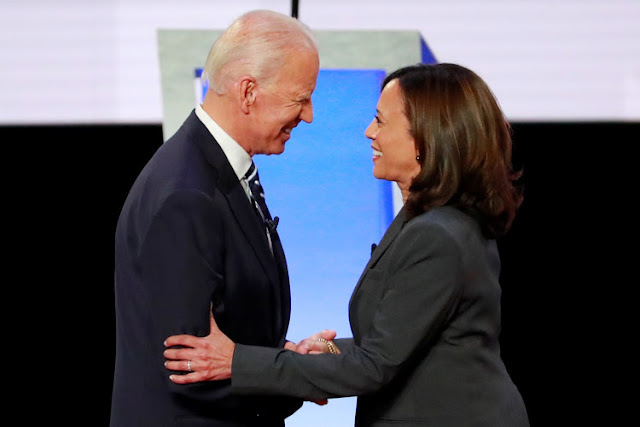 Joe Biden on with California Senator Kamala Harris