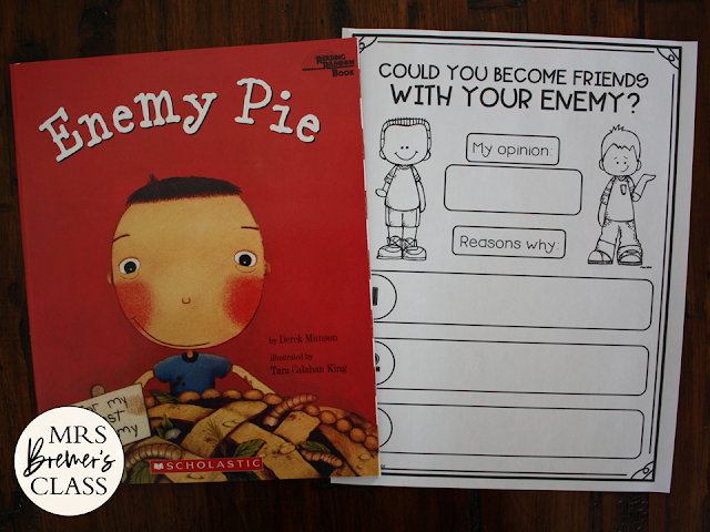 Enemy Pie book study literacy unit Common Core companion activities and craftivity for K-2