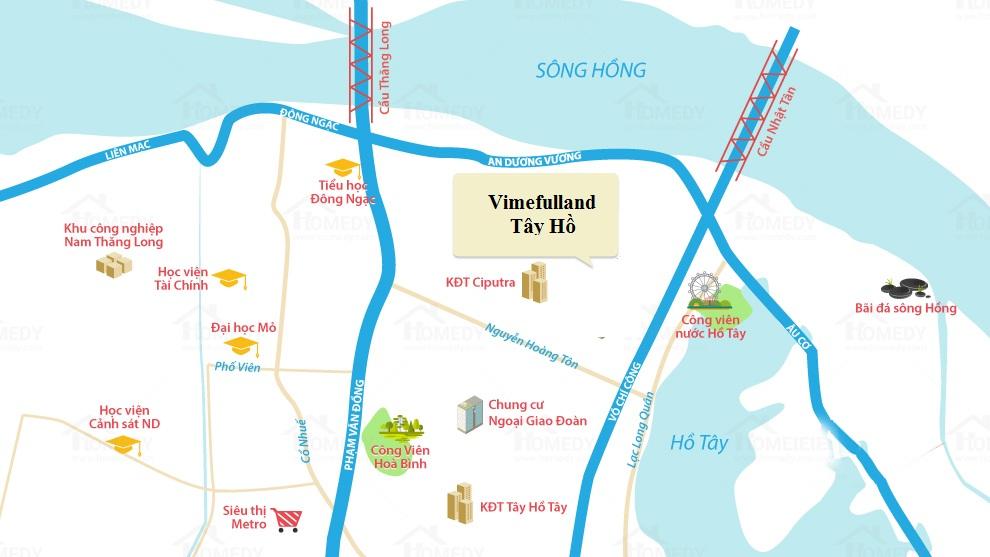 vị trí dự án vimefulland hồ tây