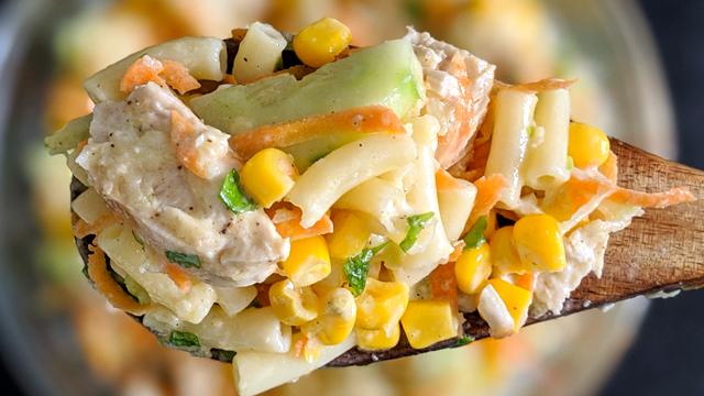 recette, salade, pâtes, poulet, crémeuse, rapide, facile