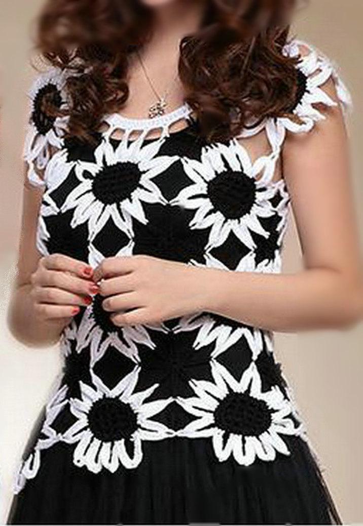 Patrón de Blusa a crochet blanco y negro para fiesta
