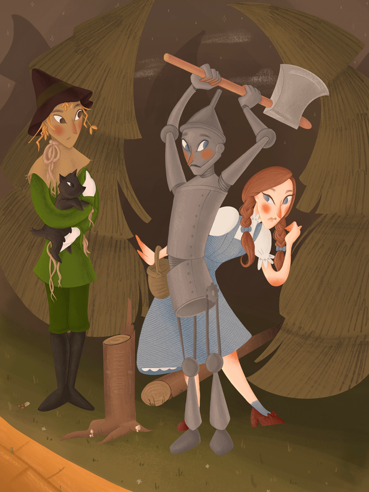 the wizard of oz scarecrow tinman dorothy gale digital illustration