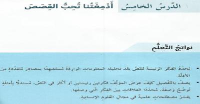 حل درس ادمغتنا تحب القصص لغه عربية