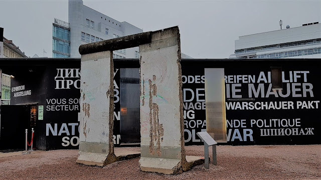 a fragment of the Berlin Wall at the Open Air Exhibition