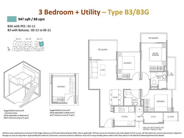 3 Bedrooms Floor Plan