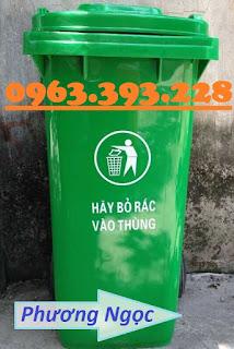 Thùng rác nhựa 120L, thùng rác công cộng 2 bánh xe, thùng rác 120L nhựa HDPE