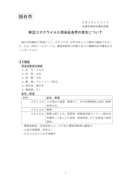 新型コロナウイルス感染症患者の発生について(6月26日発表)