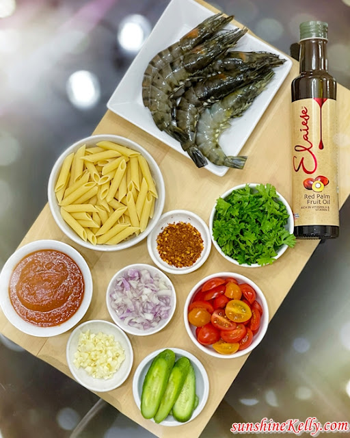 Recipe: Spicy Penne Pasta with Tiger Prawns, Elaiese Red Palm Fruit Oil, Elaiese, Superfood, Elaiese Healthy Recipe, Healthy Kitchen, Food