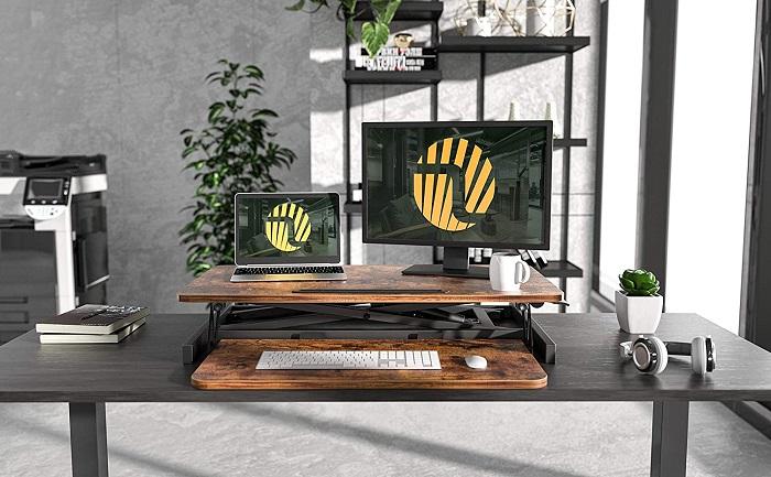 FEZIBO 32-Inch Adjustable Standing Desk Converter
