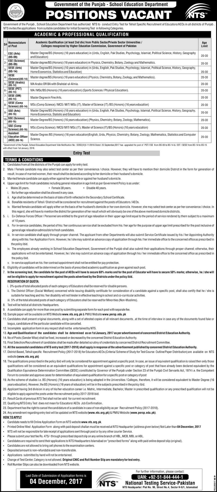 Jobs In School Education Department Govt Of Punjab Nov 2017