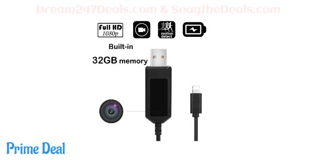32GB USB Cable Hidden Camera 50% OFF