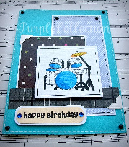 Birthday Cards, drum set birthday card, blue birthday card