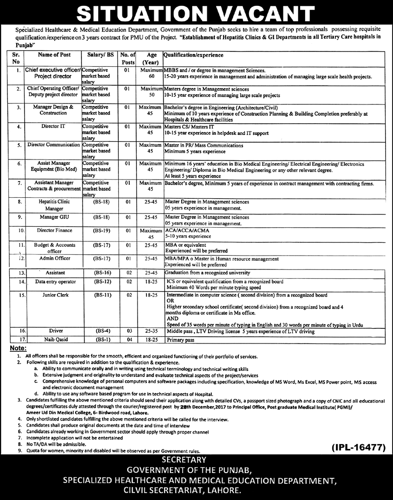 Jobs In Specialized Healthcare And Medical Education Department Lahore Dec 2017