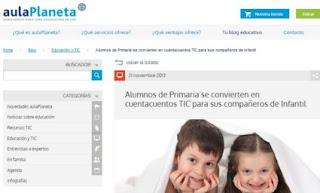 http://www.aulaplaneta.com/2013/11/21/educacion-y-tic/alumnos-de-primaria-se-convierten-en-cuentacuentos-tic-para-sus-companeros-de-infantil/