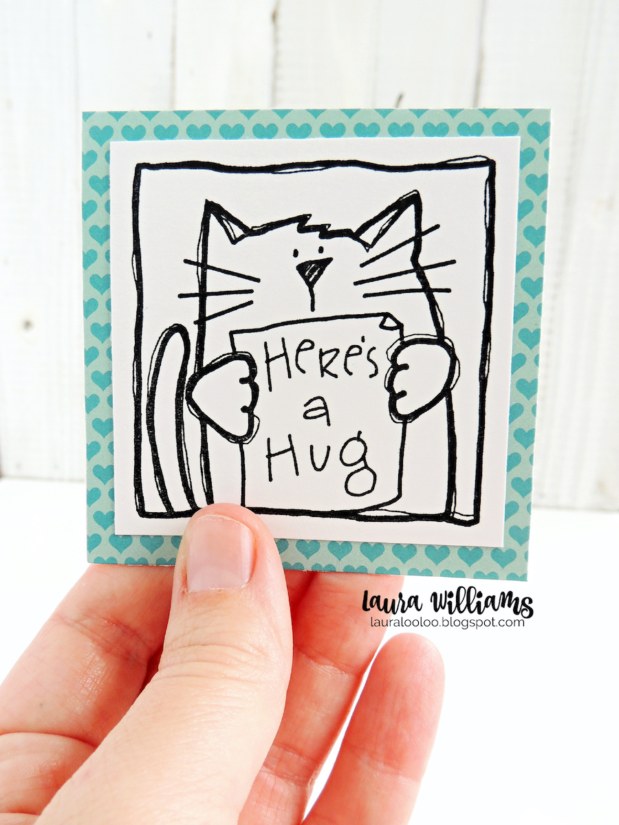 Make a mini 3x3 handmade card for Valentines Day with one simple stamp and patterned paper. This is a fun mini Valentine that kids can color themselves.