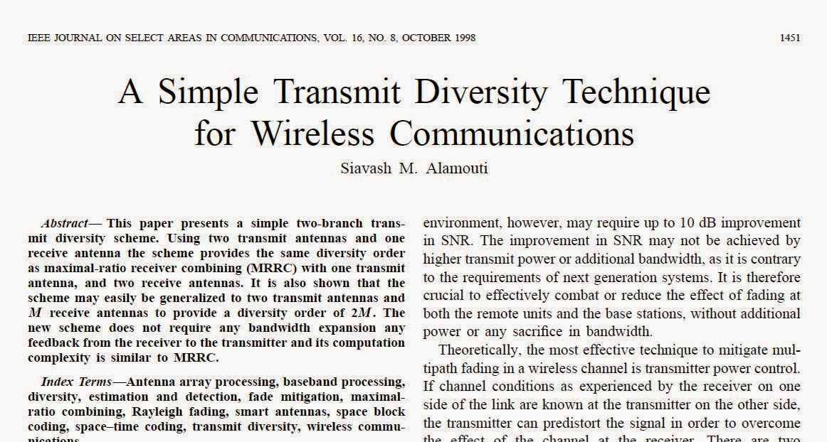 A Simple Transmit Diversity Technique for Wireless Communications by Alamouti