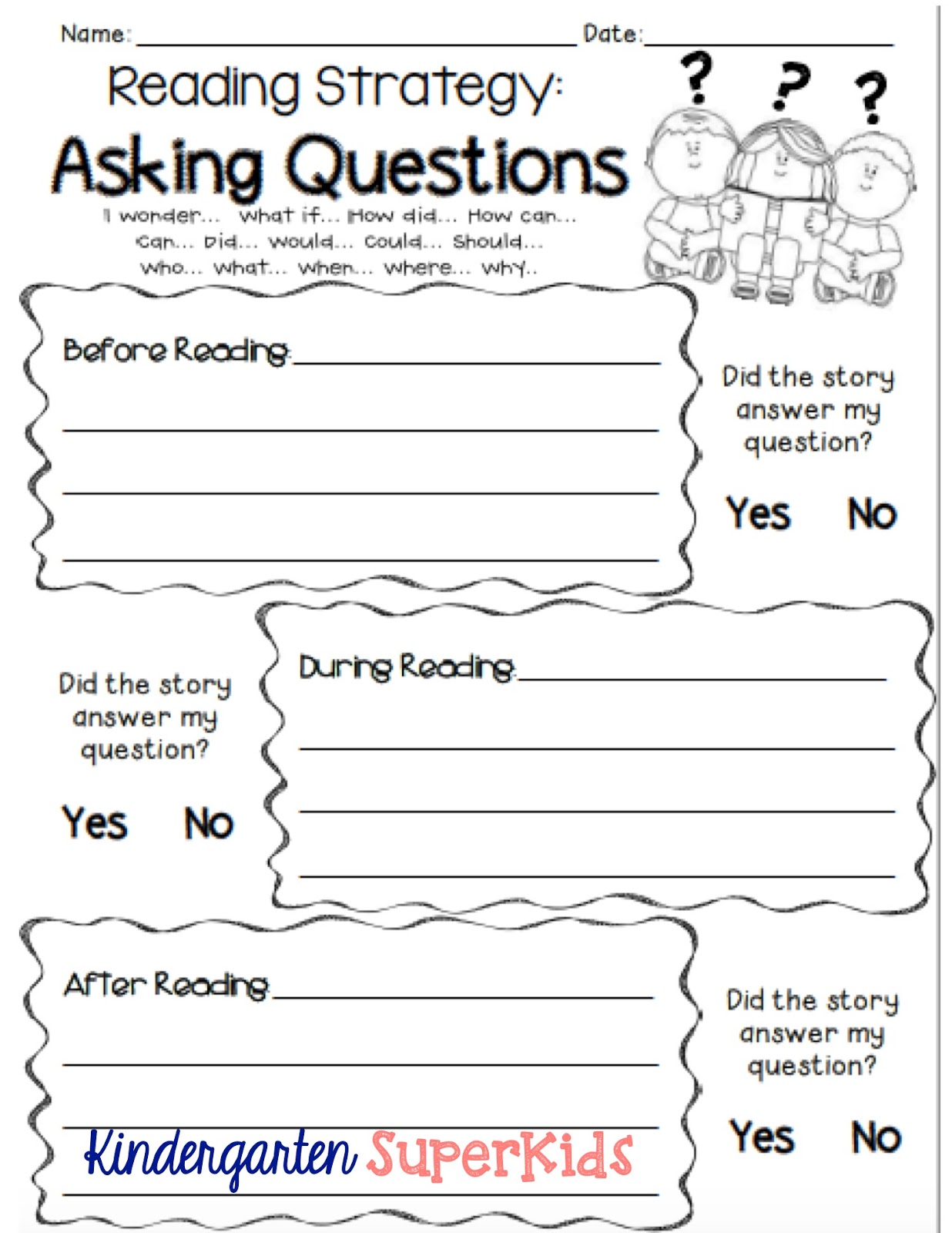 Kindergarten Superkids Asking Questions A Reading