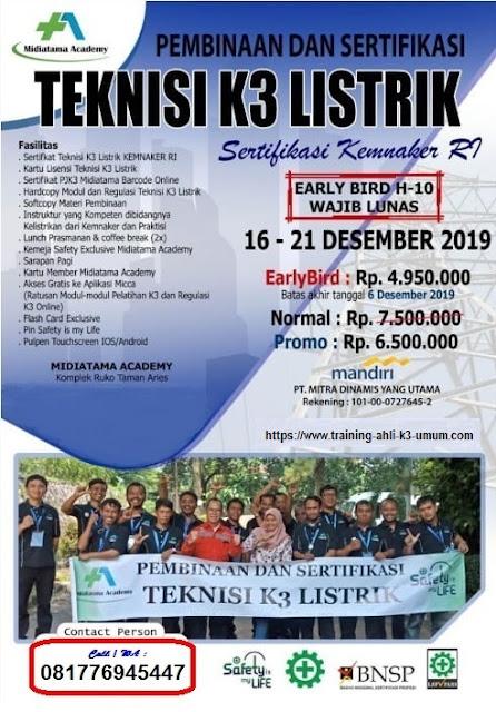 Teknisi K3 Listrik murah tgl. 16-21 Desember 2019 di Jakarta