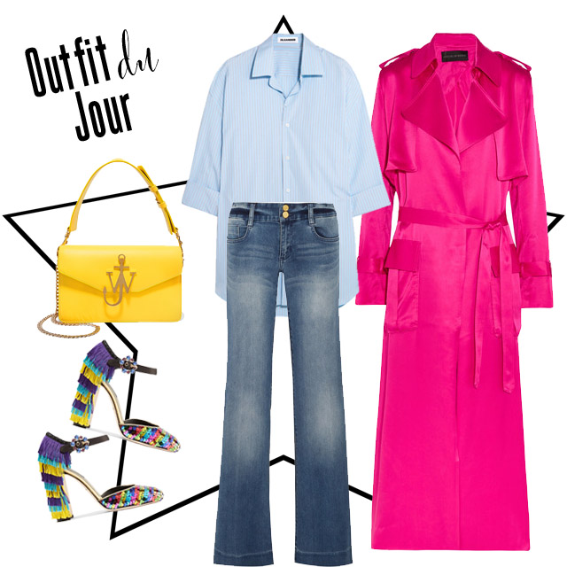 Outfit du Jour: Statement Heels, oversized shirt, vintage jeans, yellow bag and bright pink jacket