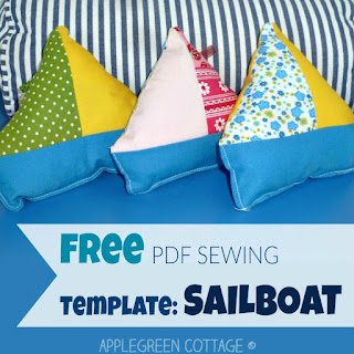​​Get your free printable PDF template and sew tons of these adorable softies!​ ​​These homemade sailboat ​toys are a great and quick beginner sewing project and so much fun to sew!