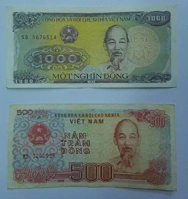 千ドン(1.000vnd)と5百ドン(500vnd) ベトナムの紙幣