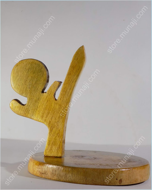 gambar produk 4-Dudukan HP Dari Kayu - Bentuk Wong Gaya Nendang (Wooden Phone Stands)