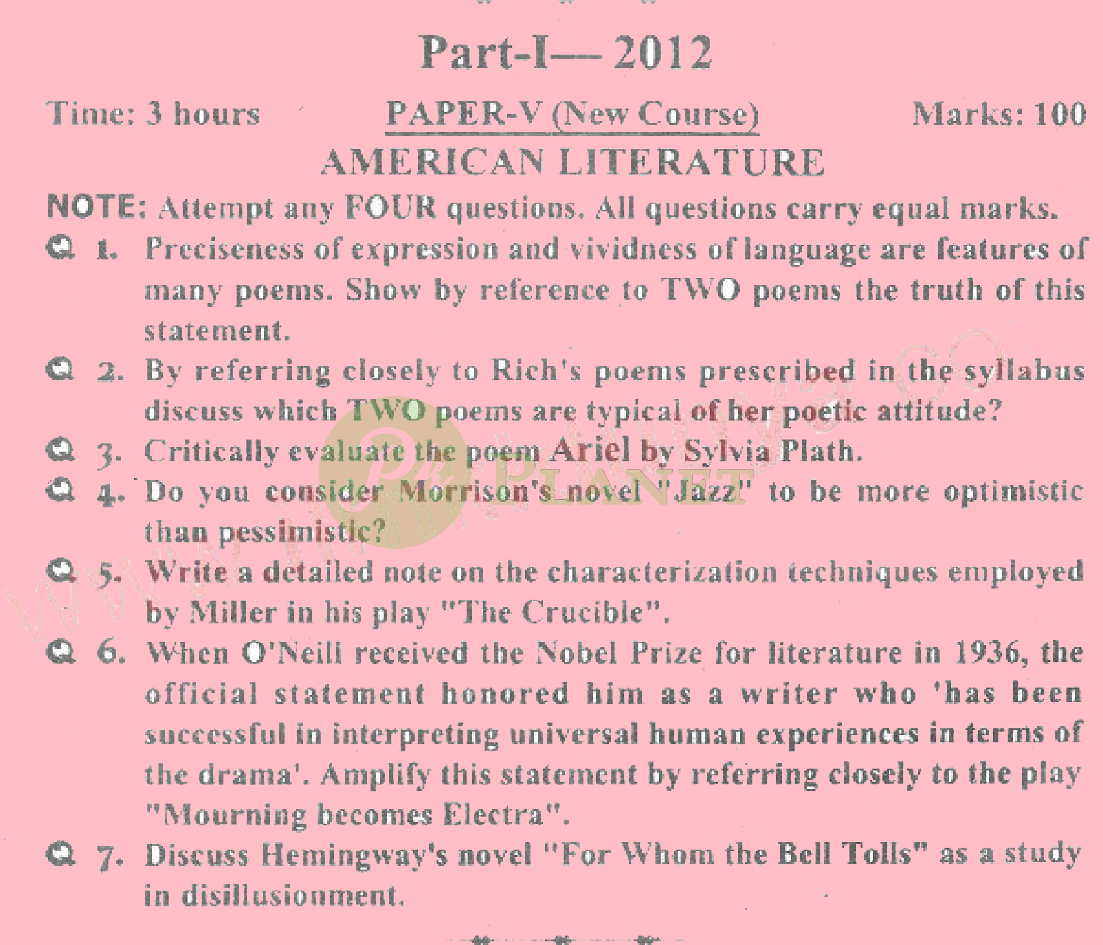 ma english part 1 past papers punjab university 2012 american literature